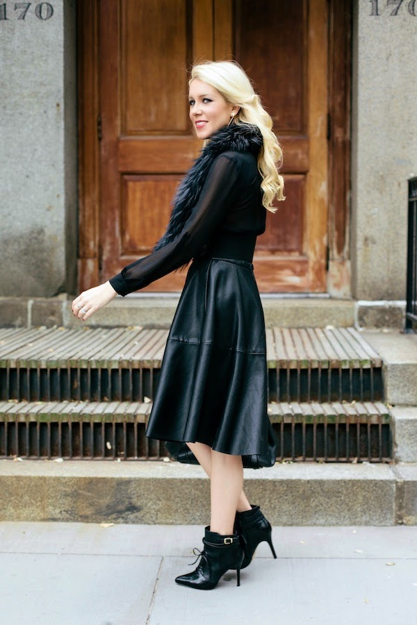 Holiday Spirit Leather Skirt Black Booties And Fur Boa