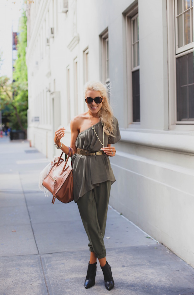olive green harem pants and grecian blouse military style