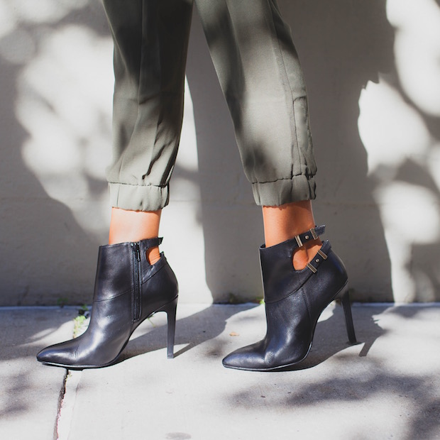 military fashion boots black leather booties