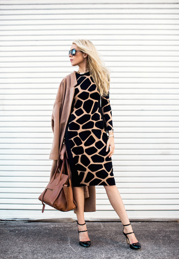 camel coat printed body con dress gold collar holiday party outfit
