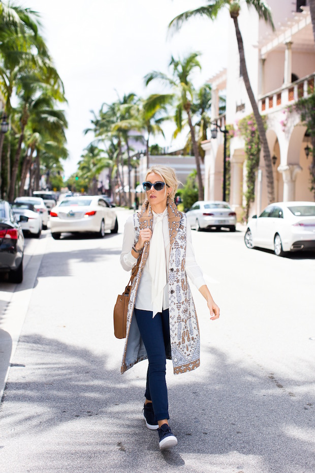 Tory Burch Holiday Sale 50% off sale 60% of sale printed longline vest soft sneakers retro shades bucket bag The Supper Model Palm Beach Blogger