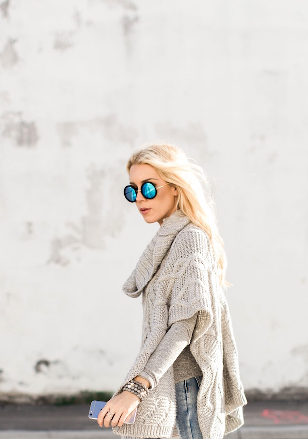 Grey Knit Poncho Cape Ripped denim blue round sunglasses metallic oxfords fur tote fall style The Supper Model best streetstyle
