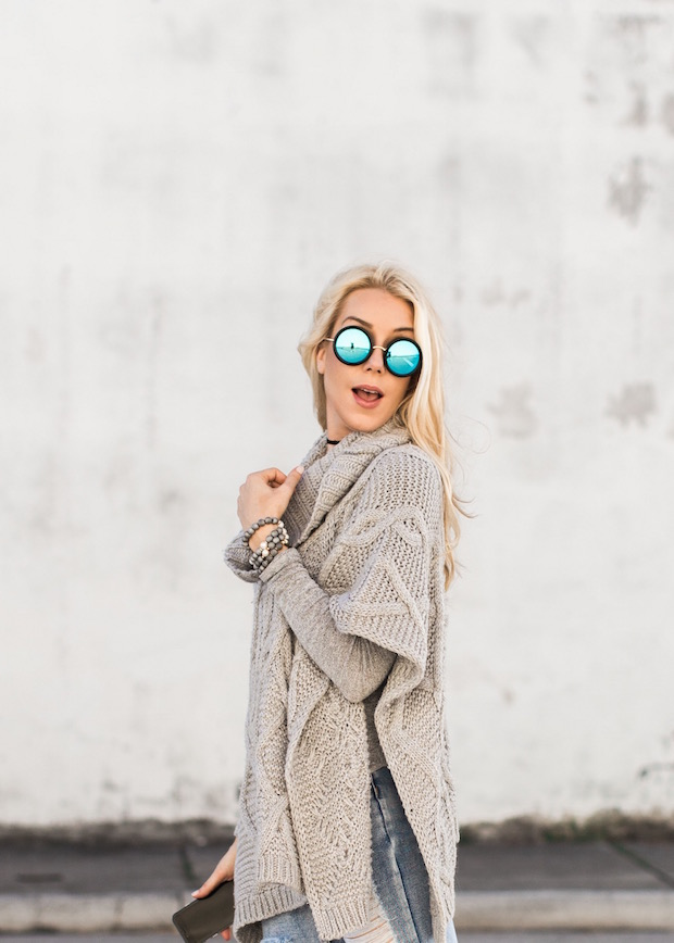 grey knit poncho cape ripped boyfriend jeans metallic oxfords the supper model
