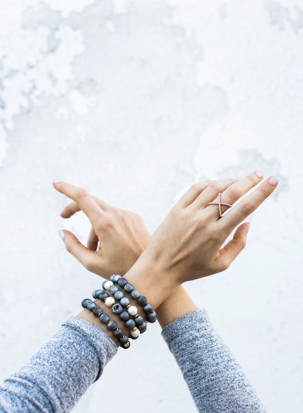 druzy grey stone bead stack bracelts sangie palm beach bauble bar ring The Supper Model hands