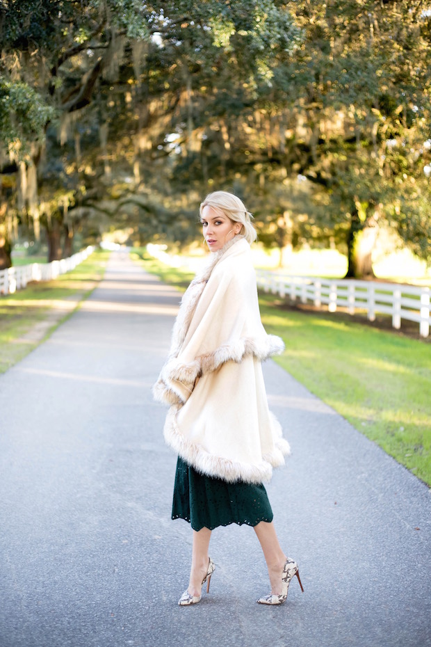 winter white faux fur cape winter style green culottes eyelet pants wide leg trouser neck tie blouse the supper model best winter style best rising fashion bloggers